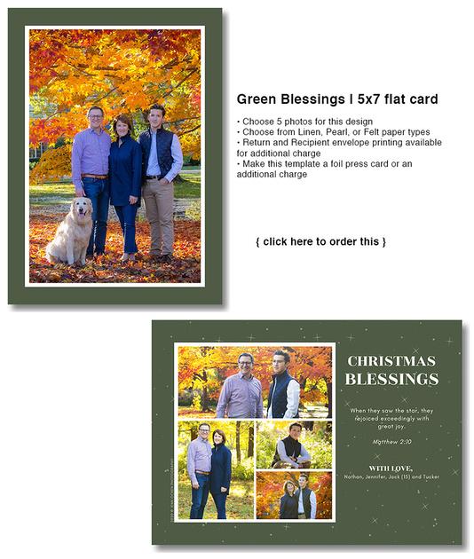 Green Blessings | 5x7 flat card
