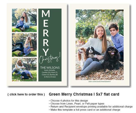 Green Merry Christmas | 5x7 flat card